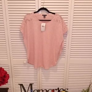 American living vaby pink crochet accent top nwt